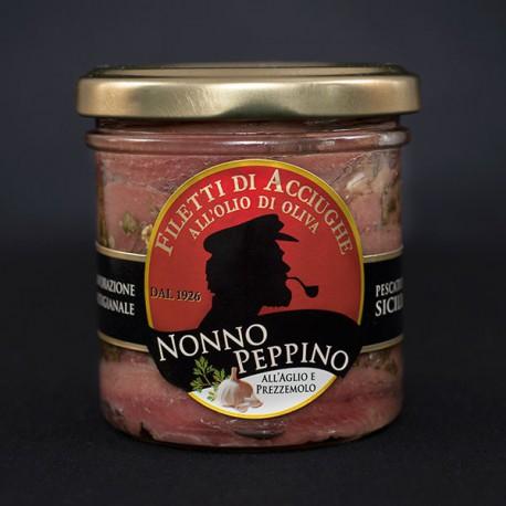 filetti di acciughe aglio e prezzemolo in olio evo - 160 g